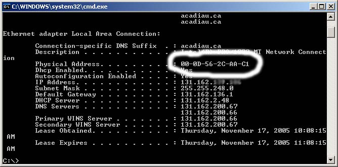 how to get the mac address: